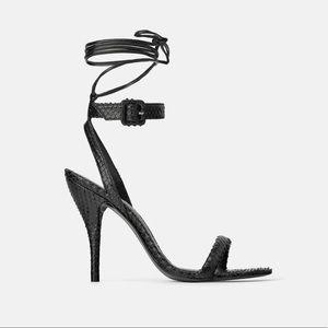 ZARA Leather Croc Strappy Heel